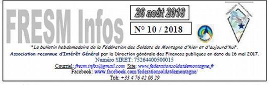 FRESM INFOS n°10 du 26 aout 2018
