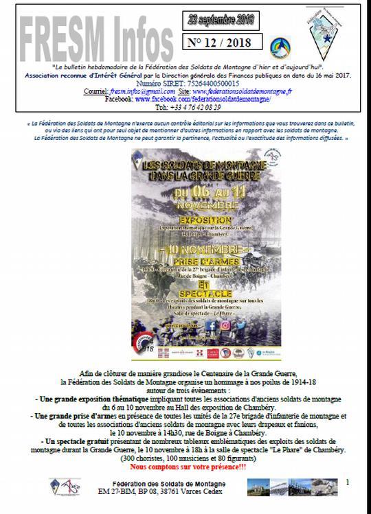 FRESM INFOS n°12 du 23 septembre 2018